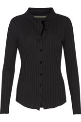Enza Costa Ribbed Cotton And Cashmere Blend Shirt Black