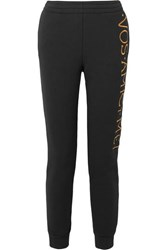 Moschino Embroidered Stretch Terry Track Pants Black