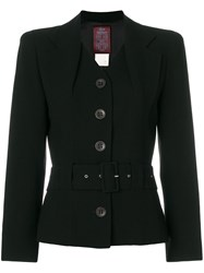 John Galliano Vintage Layered Lapels Belted Jacket Black