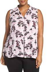 Vince Camuto Plus Size Women's 'Leaf Trio' Print Sleeveless Pleat V Neck Top