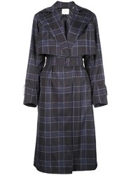 Vince Double Breasted Checked Coat Blue
