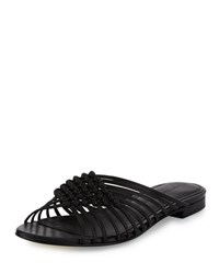 Sigerson Morrison Aggie Woven Leather Slide Sandal Black