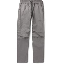 John Elliott Tomba Slim Fit Waxed Cotton Drawstring Trousers Gray
