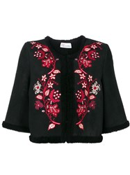 Red Valentino Cropped Floral Embroidered Jacket Black