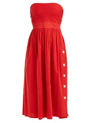 Loup Charmant Strapless Tie Back Cotton Dress Red