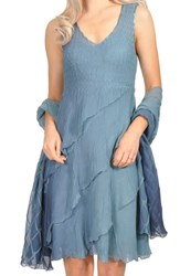 Komarov Tiered Chiffon Dress With Wrap Silver Blue Ombre