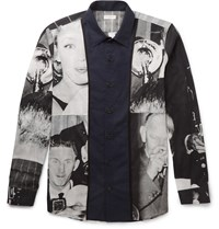 Dries Van Noten Creely Satin Trimmed Printed Cotton Voile Shirt Midnight Blue