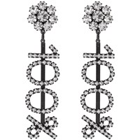 Ashley Williams Black And Transparent '100 ' Clip On Earrings