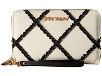 Betsey Johnson Cross Your Heart Large Wallet Black White Wallet Handbags