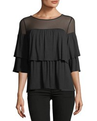 Casual Couture Tiered Bell Sleeve Tee Black