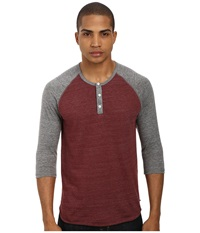 Alternative Apparel 3 4 Raglan Henley Eco True Black Cherry Men's Long Sleeve Pullover Brown