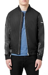 Men's Topman Bomber Jacket With Faux Leather Sleeves