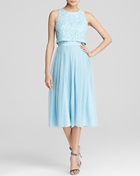 Aqua Dress Faux Two Piece Sequined Bodice Midi Ice Blue