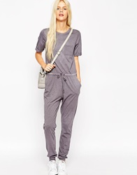 Asos Washed Casual Jumpsuit With Drawstring Grey