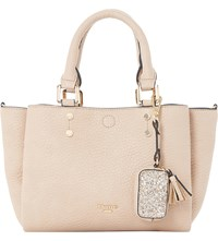 Dune Medium Glitter Trim Faux Leather Tote Taupe Plain Synthetic