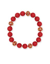 Anne Klein Goldtone Epoxy Stone Beaded Stretch Bracelet Coral
