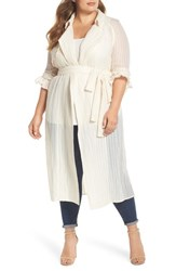 Elvi Plus Size The Farah Textured Trench Coat Cream