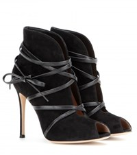 Gianvito Rossi Suede Open Toe Ankle Boots No