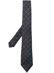 Z Zegna Check Embroidery Tie Brown