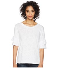 Dylan By True Grit Soft Slub Ruffle Short Sleeve Tee White T Shirt