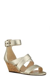 Nine West Women's Piwow Wedge Sandal Light Gold Faux Leather