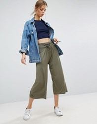 Asos Lace Up Corset Detail Wide Leg Trousers Green Multi