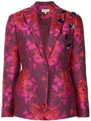 Delpozo Floral Embroidered Blazer Pink And Purple