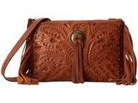 American West Honky Tonk Days Fringe Crossbody Golden Tan Cross Body Handbags