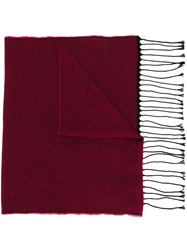 Canali Fringed Scarf Pink And Purple