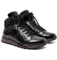 Berluti Fast Track Shearling Lined Leather And Jacquard Shell Hiking Boots Black