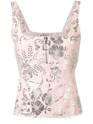 Marques Almeida Marques'almeida Sleeveless Floral Top Women Cotton Polyester Acetate Cupro Xs Pink Purple