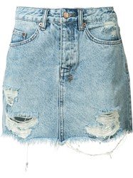 Ksubi Ripped Denim Skirt Blue