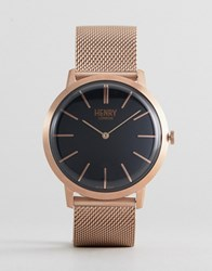 Henry London Mesh Watch In Rose Gold Rose Gold