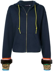 Harvey Faircloth Contrasting Cuff Zip Front Hoodie Blue