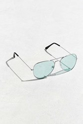 Urban Outfitters Turquoise Top Gun Aviator Sunglasses Silver
