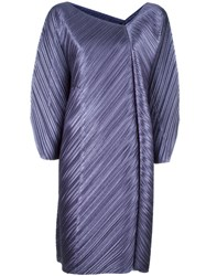 Issey Miyake Pleats Please By V Neck Pleated Dress Pink Purple