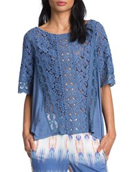 Plenty By Tracy Reese Lace Combo Slub Tee Slate