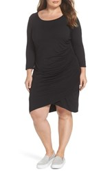 Gibson Plus Size Women's X Living In Yellow Hannah Ruched Faux Wrap Dress Black
