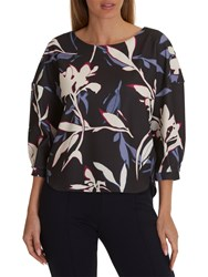 Betty And Co. Floral Print Top Grey Cream