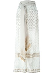 Mame Wide Leg Patterned Trousers Nude And Neutrals