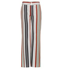 Chloe Striped Cotton Blend Twill Wide Leg Trousers Multicoloured