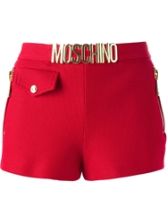 Moschino Logo Plaque Shorts Red