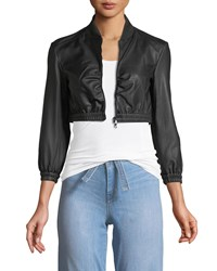 Emporio Armani Zip Front Cropped Ruched Waist Leather Jacket Black