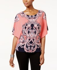 Jm Collection Scroll Print Butterfly Sleeve Top Only At Macy's Pink Artist Paisley