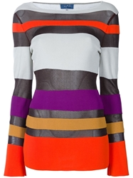 Thierry Mugler Vintage Striped Top Grey