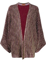 Missoni Striped Metallic Cardi Coat Pink