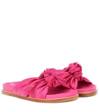Etro Knotted Satin Slides Pink