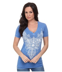 Affliction Lorielle Short Sleeve 50 50 V Neck Tee Cobalt Burnout Women's T Shirt Blue