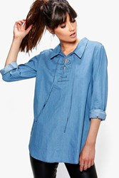 Boohoo Lace Up Front Denim Tunic Denim
