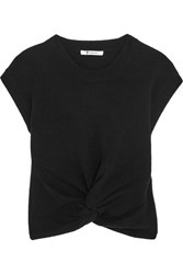 Alexander Wang T By Cropped Twist Front Wool And Cashmere Blend Sweater Black